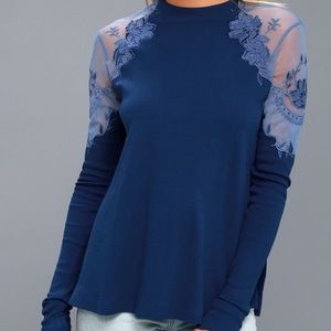 Free People | Daniella Blue Embroidered Sweater